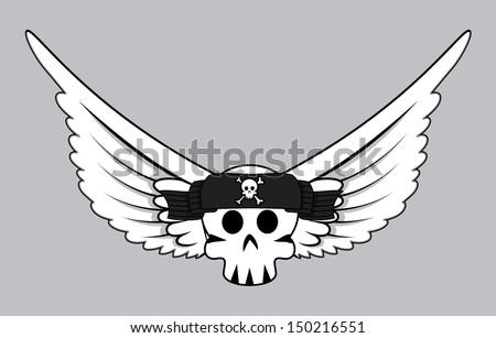 Flying Jolly Roger Skull Vector - stock vector