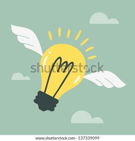 flying light bulb - stock vector