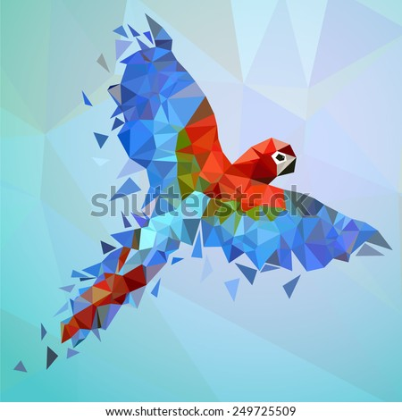 Flying low-poly parrot. Colorful vector illustration for your design. - stock vector