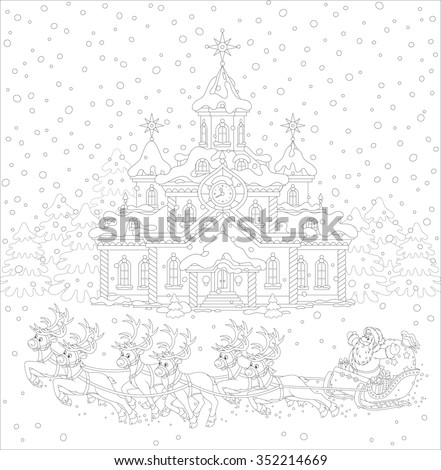 Flying magic reindeers and Santa Claus with a sack of gifts in his sleigh on a snowy Christmas eve, a black and white vector illustration - stock vector