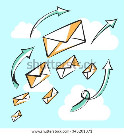 Flying mail with arrows. Career, growth, infographic or leadership concept. Air mail, post letter, delivery service or e-mail vector conception.