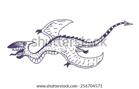 Flying monster vector drawn character isolated on white background - stock vector