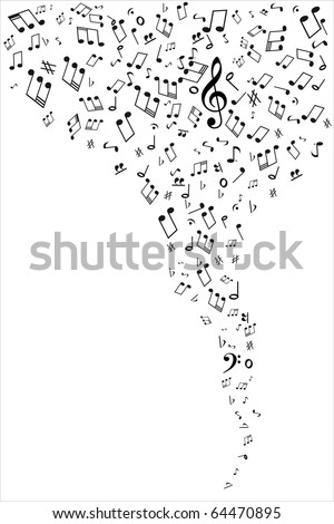Flying music notes - stock vector