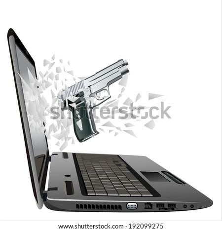 flying out of a broken laptop computer screen-gun  - stock vector