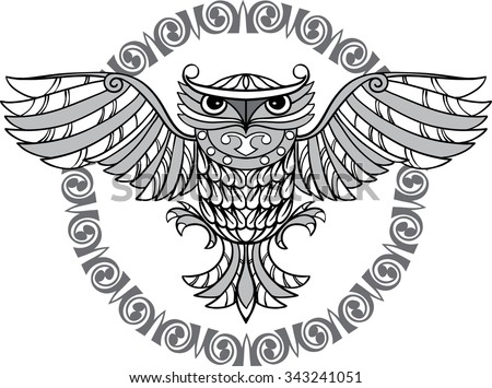 Flying owl and a decorative pattern. Black and white illustration.