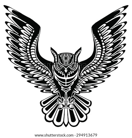 Flying owl drawings black and white - photo#17