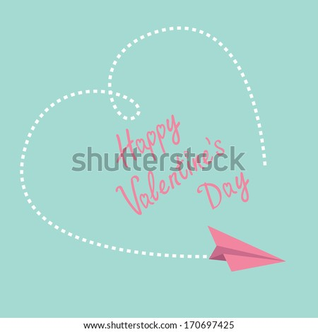 Flying paper plane. Big dash heart in the sky. Happy Valentines Day card.  Vector illustration.