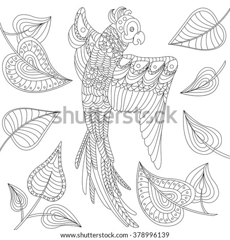 flying parrot with leaves. Black and white contour thin line. Coloring book for adults. Bird silhouette. T-shirt print  - stock vector
