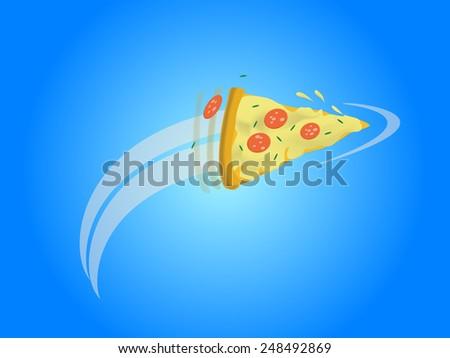Flying pizza slice. Vector illustration EPS 10. - stock vector