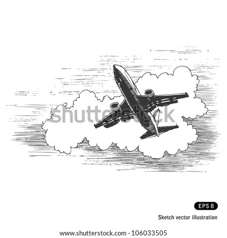 Flying plane against a cloud. Hand drawn sketch illustration isolated on white background - stock vector