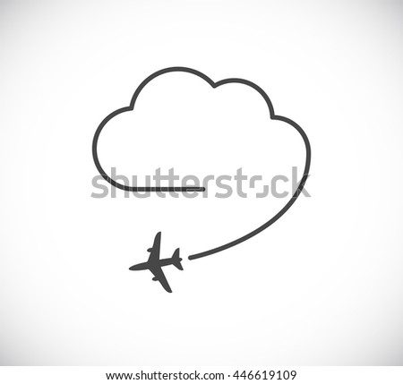 flying plane with cloud icon - design element - stock vector