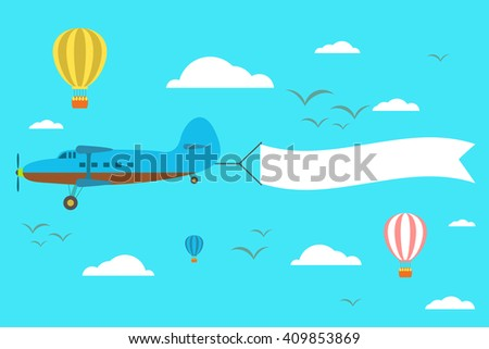 Flying plane with the banner on the background of clouds and balloons - stock vector