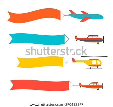 Flying Planes Set Helicopter Banners Template Stock Vector ...