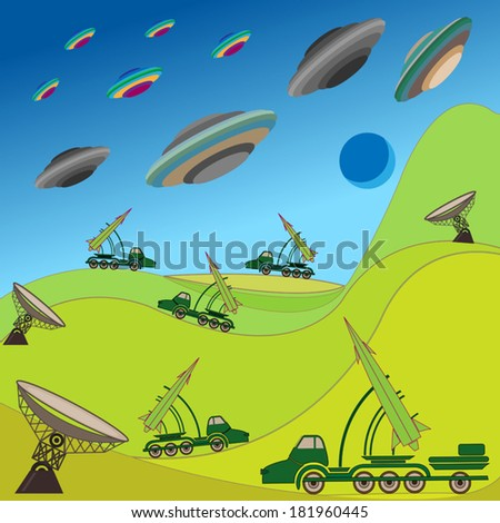 Flying plates of aliens are attacking the Earth. Military rocket unit keeps the defense. Hand drawing vector illustration - stock vector