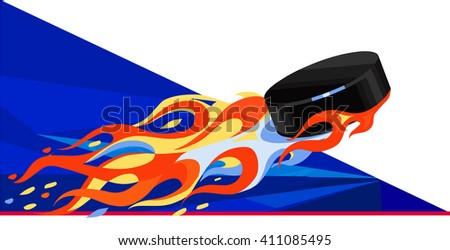 flying puck vector - stock vector