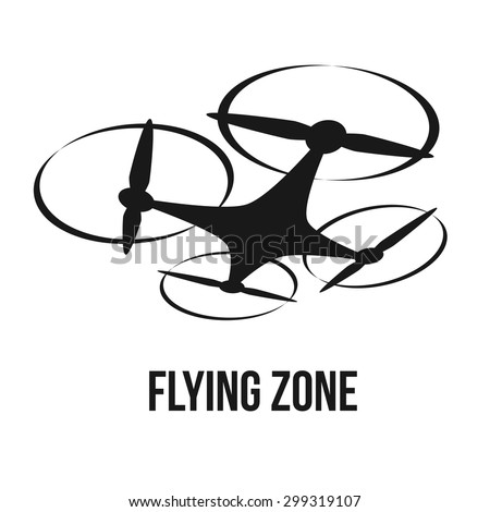 Flying Quadcopter Drone Logo Isolated Vector Illustration