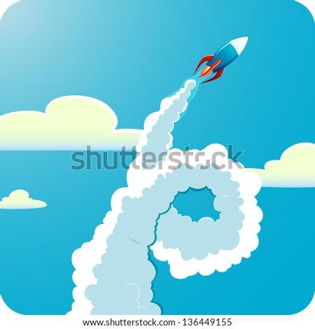 Flying rocket - stock vector