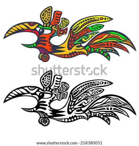 Flying Rooster. Abstract color logo and a black outline. - stock vector