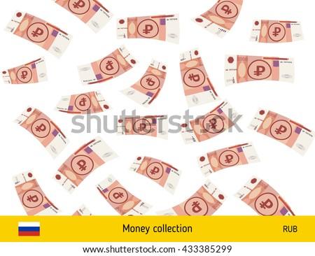 Flying Russian ruble banknote. Money rain. Falling ruble - stock vector