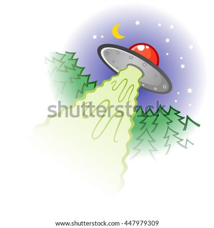 Flying Saucer Cartoon Illustration - stock vector