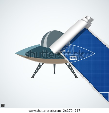 Flying saucer on torn blueprint paper stock vector 263724917 flying saucer on torn blueprint paper vector illustration eps 10 malvernweather Image collections