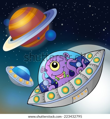 Flying saucers in space - eps10 vector illustration. - stock vector