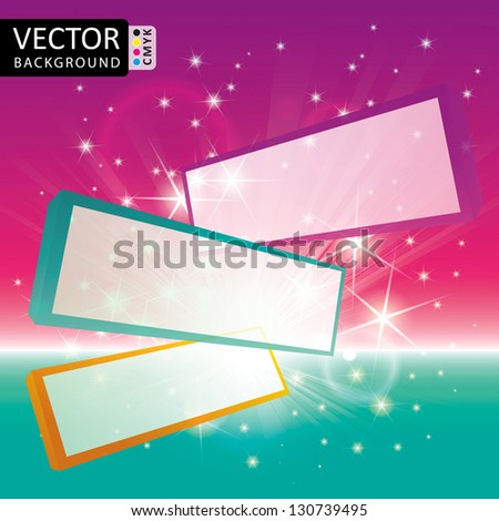 Flying Screen Panels Shine Abstract Light Stars Vector Background CMYK Color - stock vector