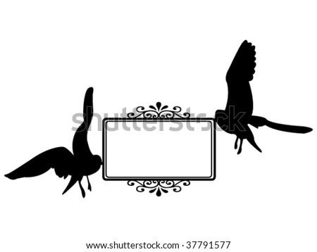 flying sea-gulls carrying blank card vector illustration - stock vector