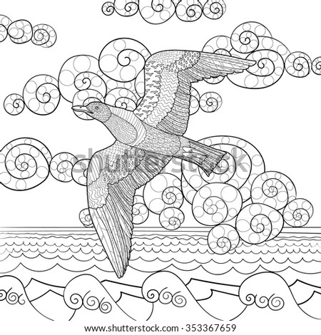 Flying seagull with high details. Adult antistress coloring page. Black white hand drawn doodle oceanic bird.  Sketch for tattoo, poster, print, t-shirt in zentangle style. Vector illustration. - stock vector