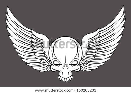 Flying Skull - Vector Cartoon Illustration - stock vector