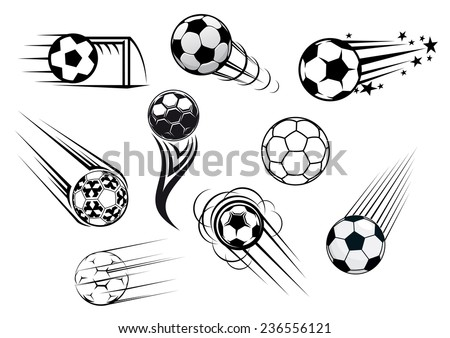 Flying soccer and football balls with motions trails for sports club or tournament logo design - stock vector