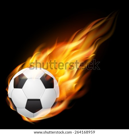Flying soccer ball on fire - falling down. Vector EPS10 illustration.  - stock vector