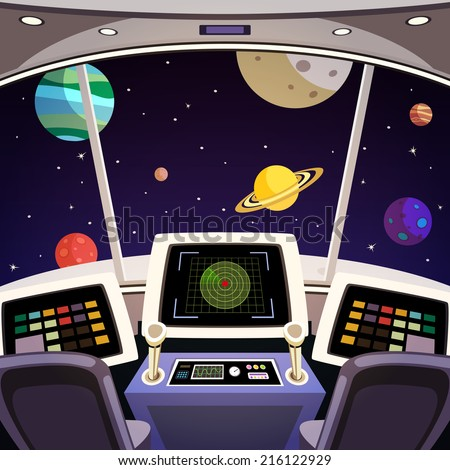 Flying spaceship cabin futuristic interior cartoon with space backdrop vector illustration - stock vector