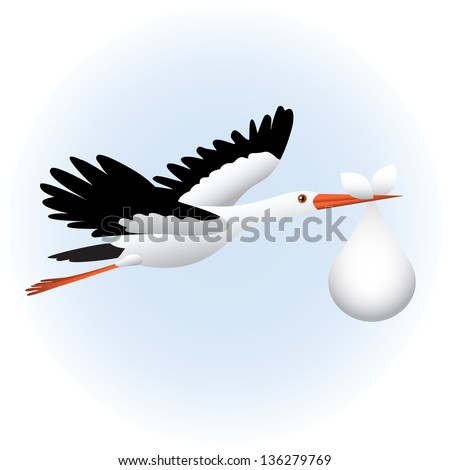 Flying stork with baby - stock vector