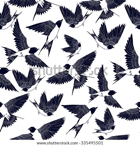 flying swallows vector seamless pattern