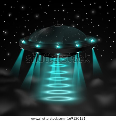 Flying ufo in the night vector illustration - stock vector