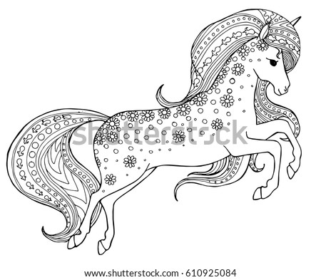 Flying Unicorn Patterned Horse Design For Adult Colouring Book