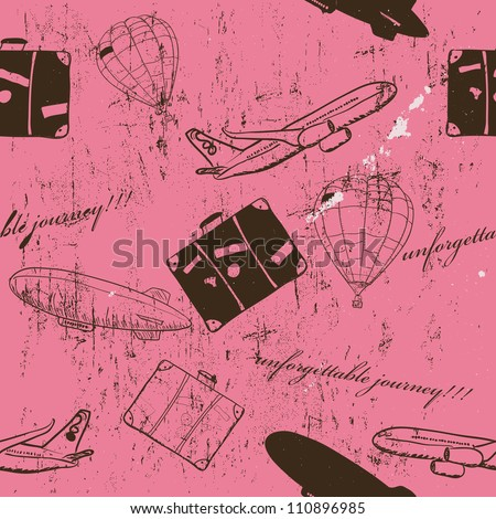 flying vehicles journey seamless pattern. Vector illustration EPS8 - stock vector