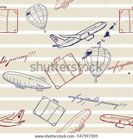 flying vehicles journey seamless pattern. Vector illustration EPS8 - stock vector