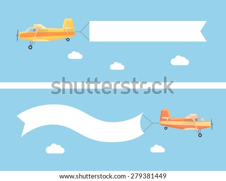 Flying vintage plane with the advertising banner modern flat concept. Template for a text web banners  and printable materials - stock vector