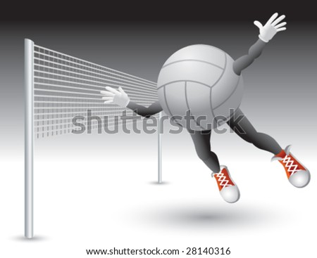 flying volleyball man with net - stock vector