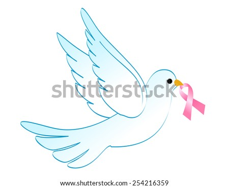 Flying white dove with breast cancer awareness pink ribbon illustration isolated on white - stock vector