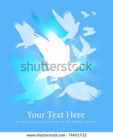 flying white doves background - stock vector