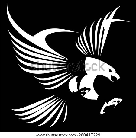 Flying white eagle with the spreading wings. Hawk. Falcon. - stock vector