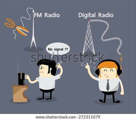 FM radio no signal, Digital radio, Cancel FM radio frequency, Get Rid Of FM Radio, Digital Audio Broadcasting(DAB) - stock vector