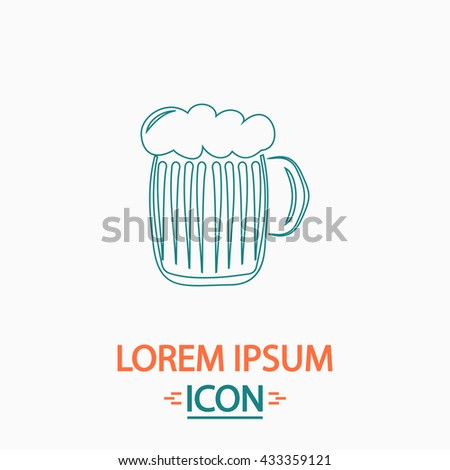 foamy beer Flat thin line icon on white background. Vector pictogram