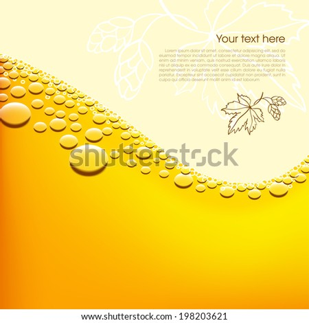 Foamy beer vector background. Easy editable background color - stock vector