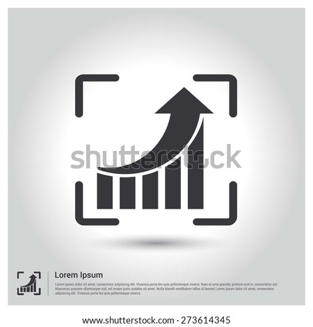 Focus on annual growing graph Icon vector illustration, pictogram icon on gray background. Flat design style - stock vector