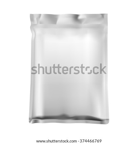 Foil vacuum bag for food or drinks, isolated on a white background. - stock vector