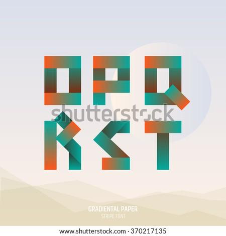 Fold ribbon alphabet. Uppercase O, P, Q, R, S, T letters. Gradient font. Business logo emblem design. - stock vector
